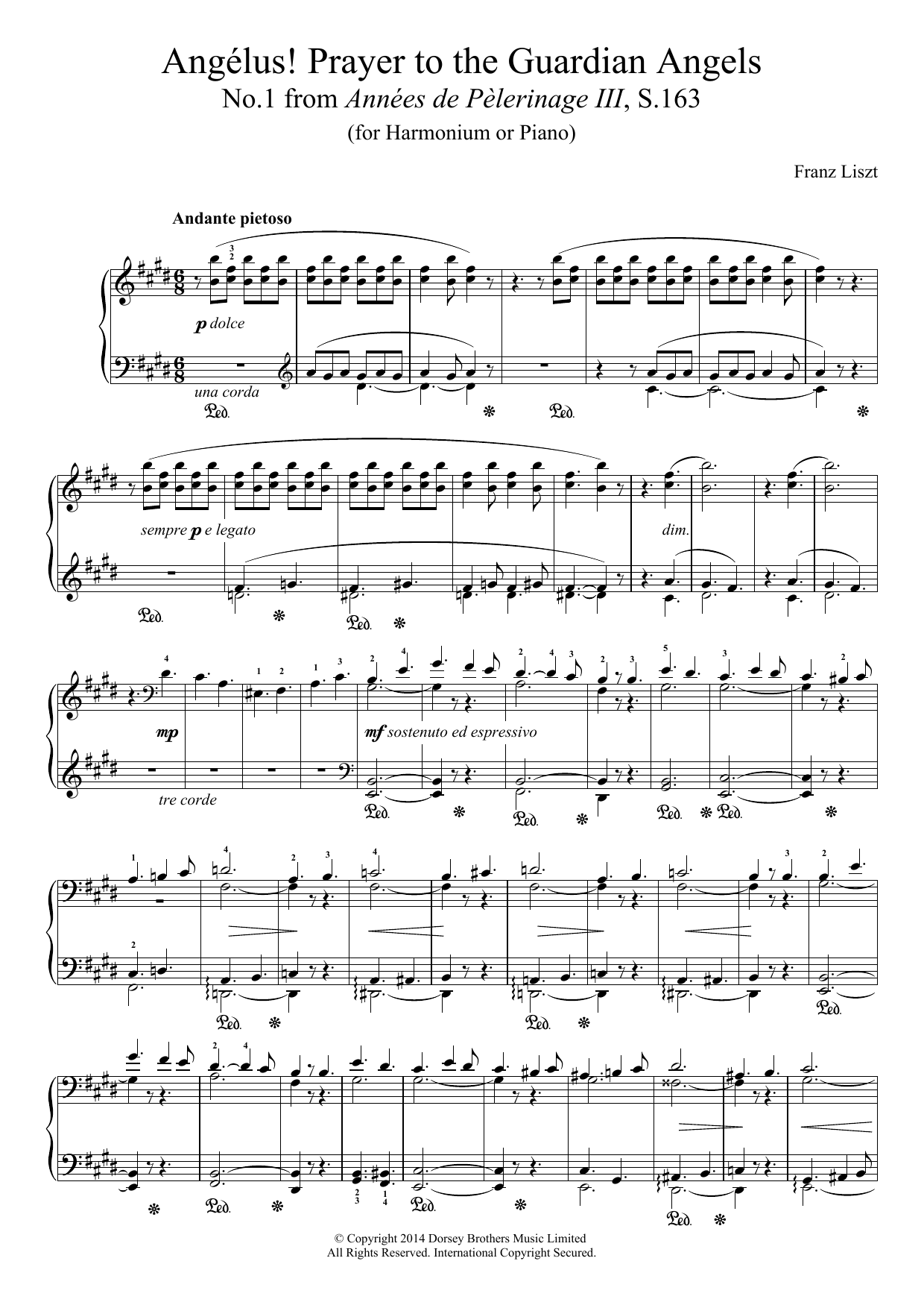 Annees De Pelerinage III, No.1: Angelus! Prayer To The Guardian Angels Sheet Music