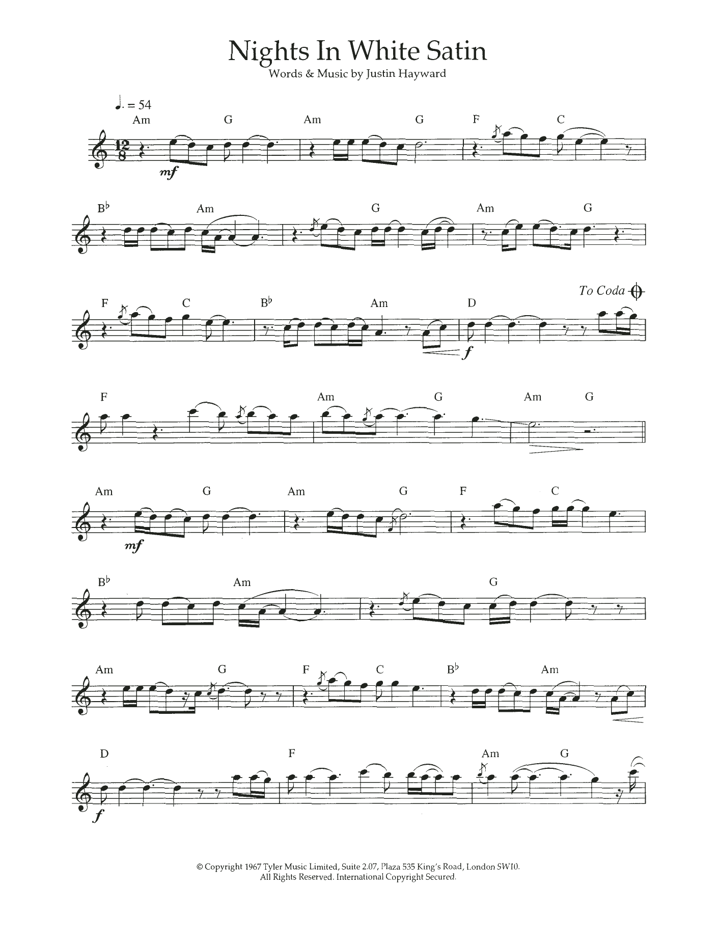 Nights In White Satin Sheet Music