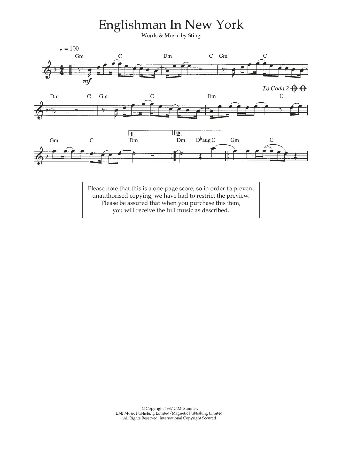 Englishman In New York Sheet Music
