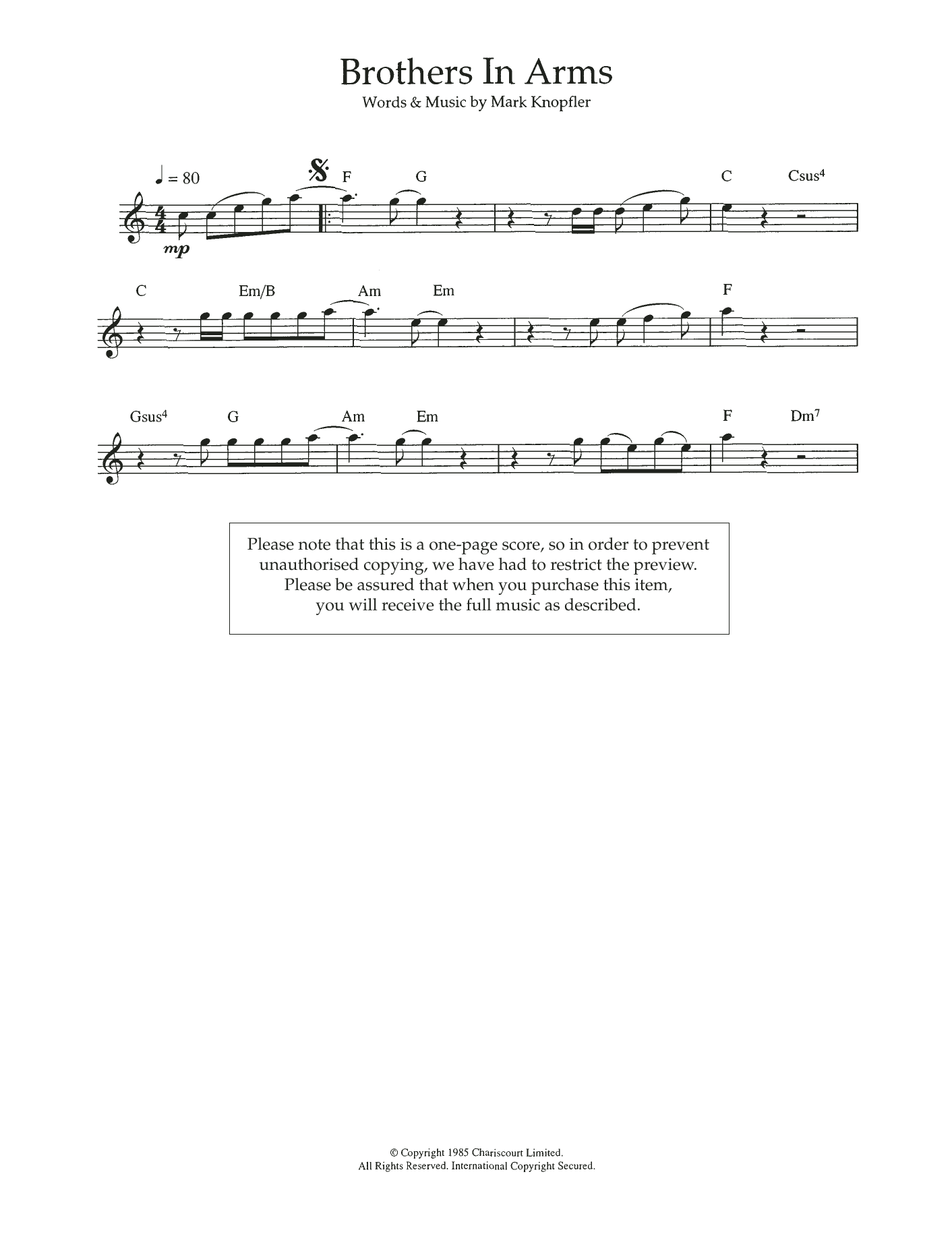 Brothers In Arms Sheet Music