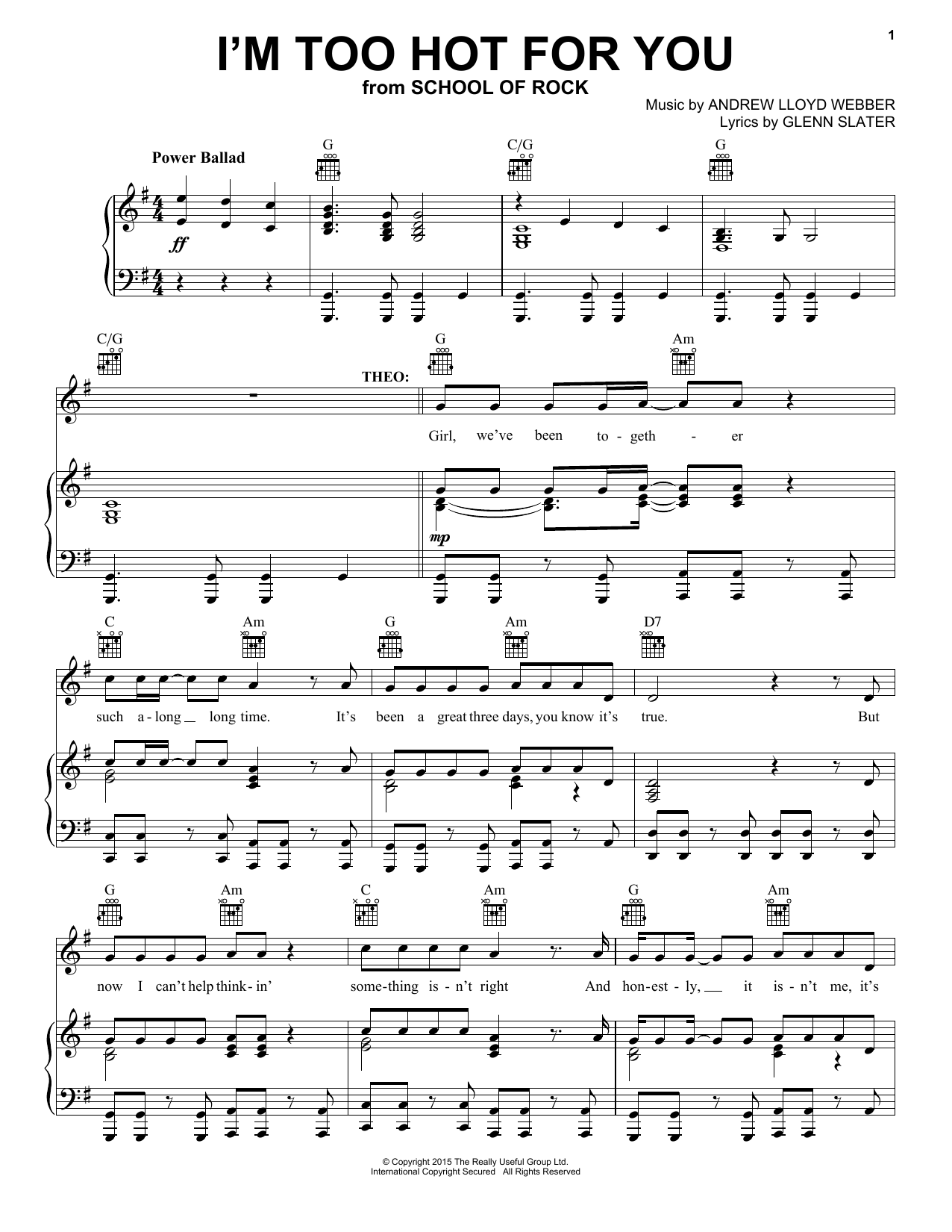 I'm Too Hot For You (from School Of Rock: The Musical) Sheet Music