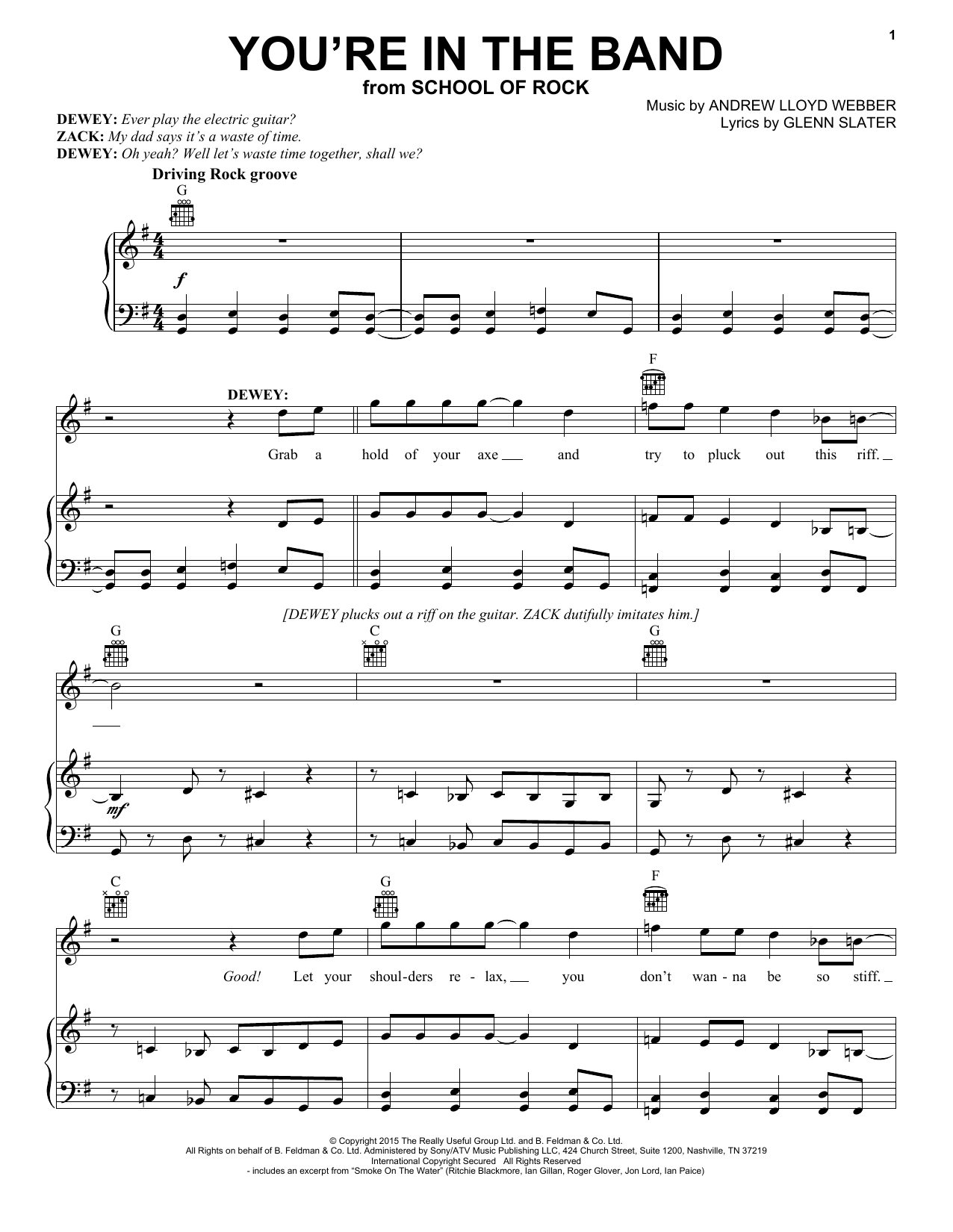 You're In The Band (from School Of Rock: The Musical) Sheet Music
