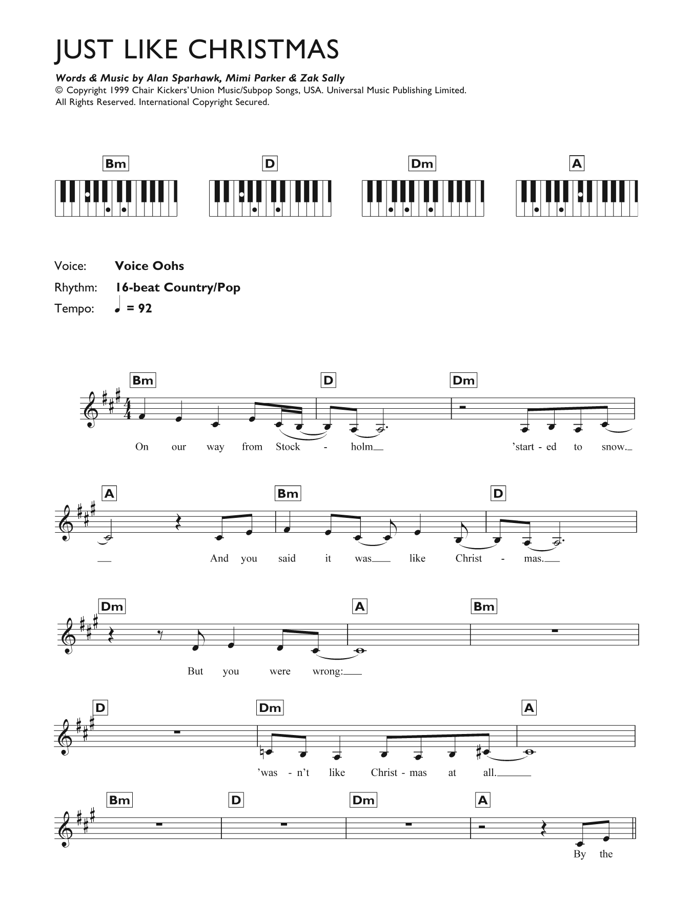 Just Like Christmas Sheet Music | Low | Keyboard