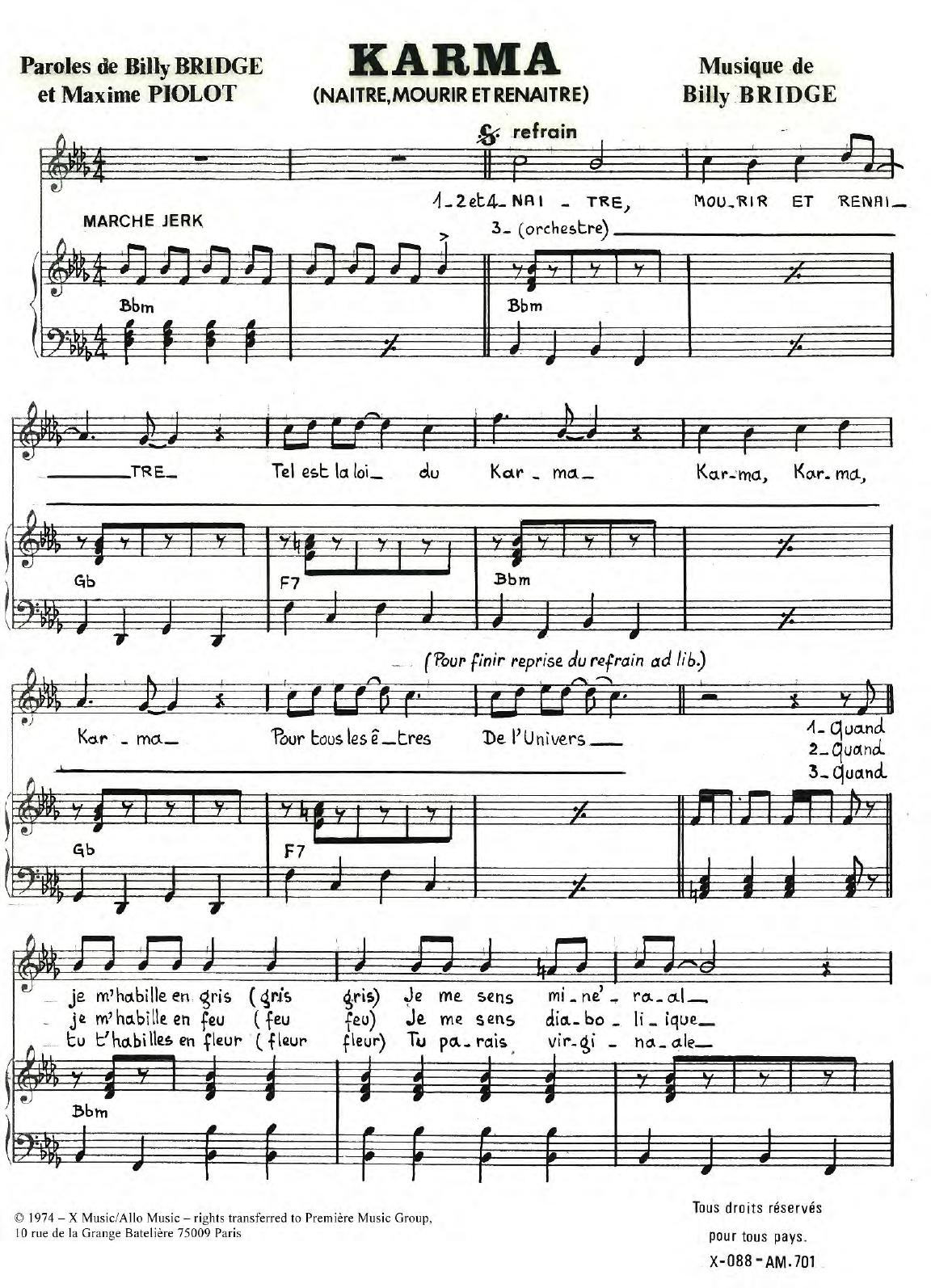 Karma (Naitre Mourir Et Renaitre) Sheet Music