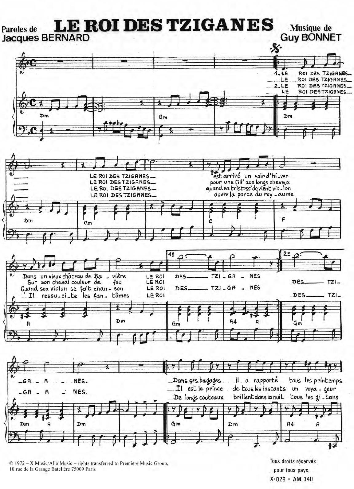 Le Roi Des Tziganes Sheet Music