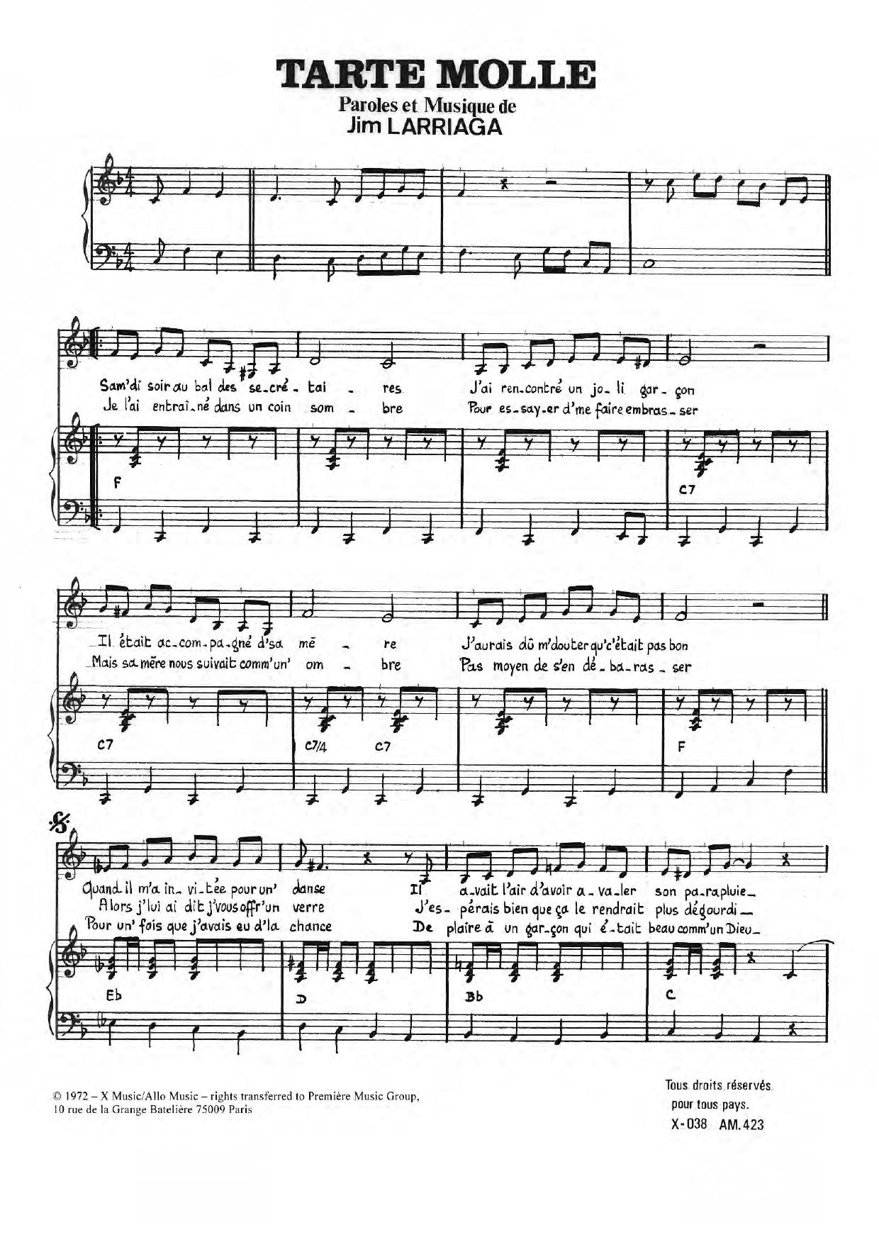 Tarte Molle Sheet Music