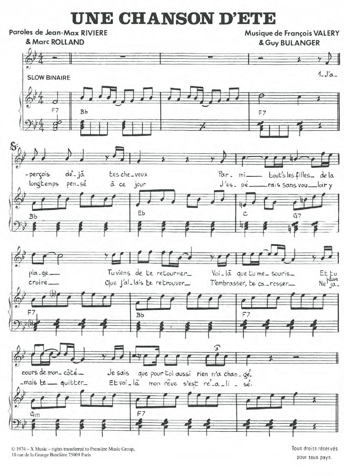 Une Chanson D'ete Sheet Music