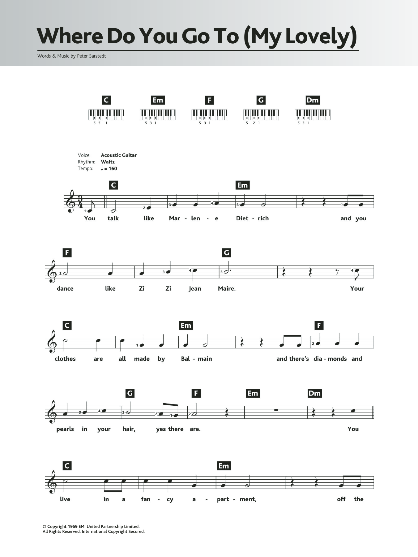Where Do You Go To (My Lovely) Sheet Music