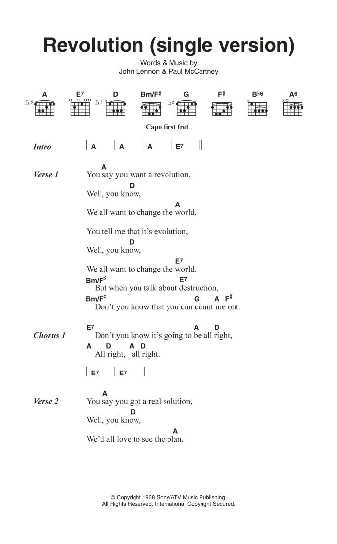 Revolution (Single Version) Sheet Music