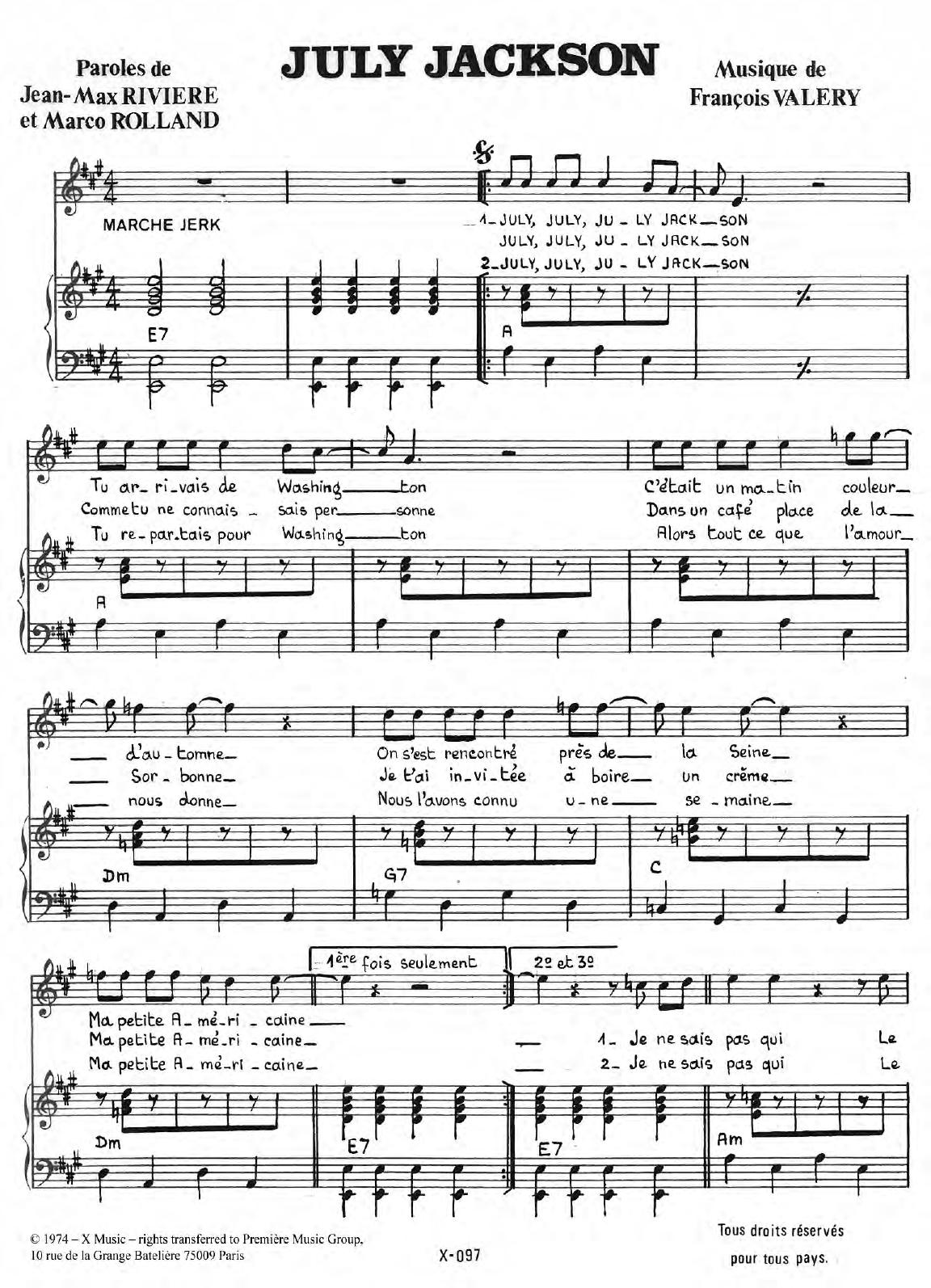 July Jackson Sheet Music