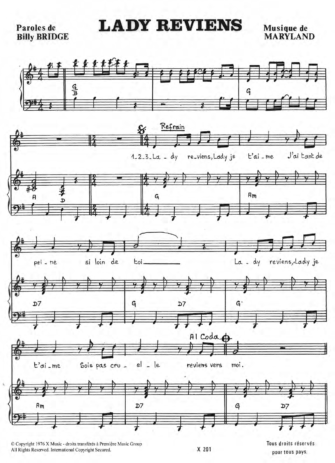 Lady Reviens Sheet Music