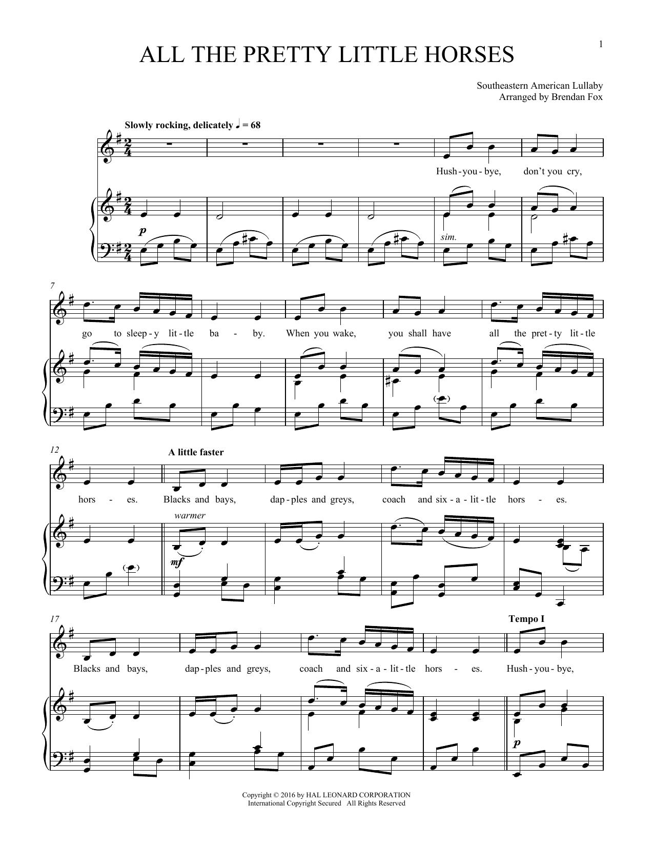 All The Pretty Little Horses (Piano & Vocal)