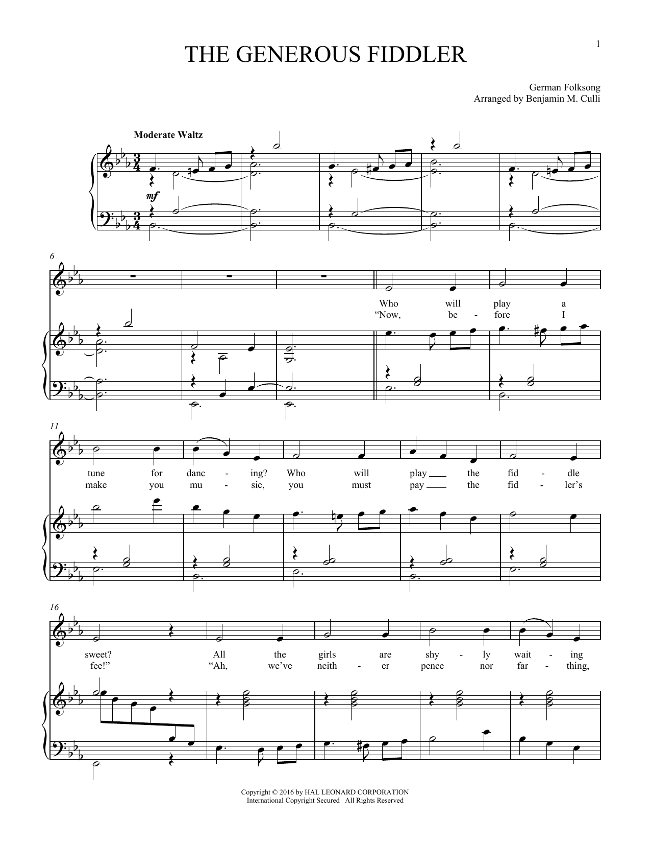 The Generous Fiddler (Piano & Vocal)