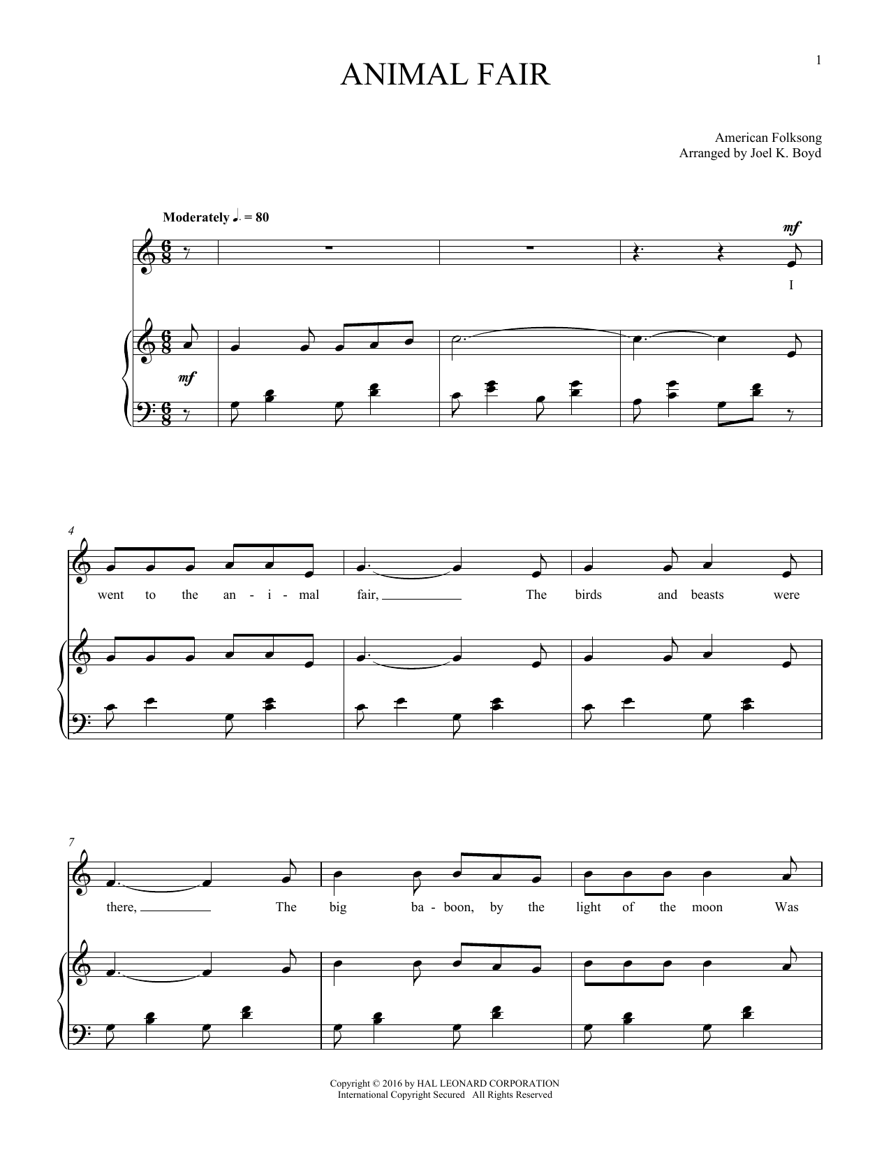 Animal Fair (Piano & Vocal)