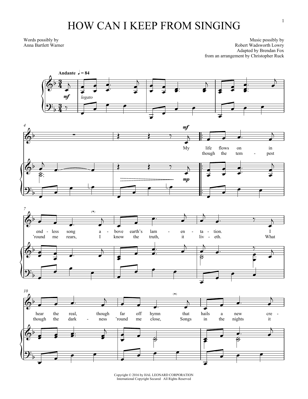 How Can I Keep From Singing (Piano & Vocal)