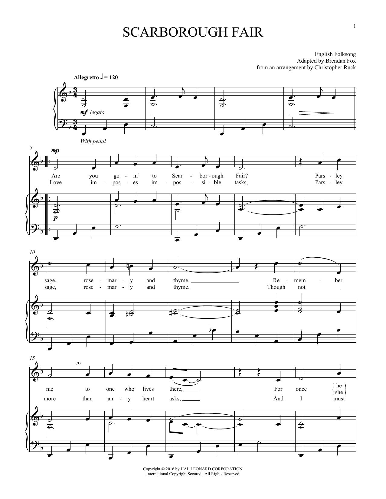 Scarborough Fair (Piano & Vocal)