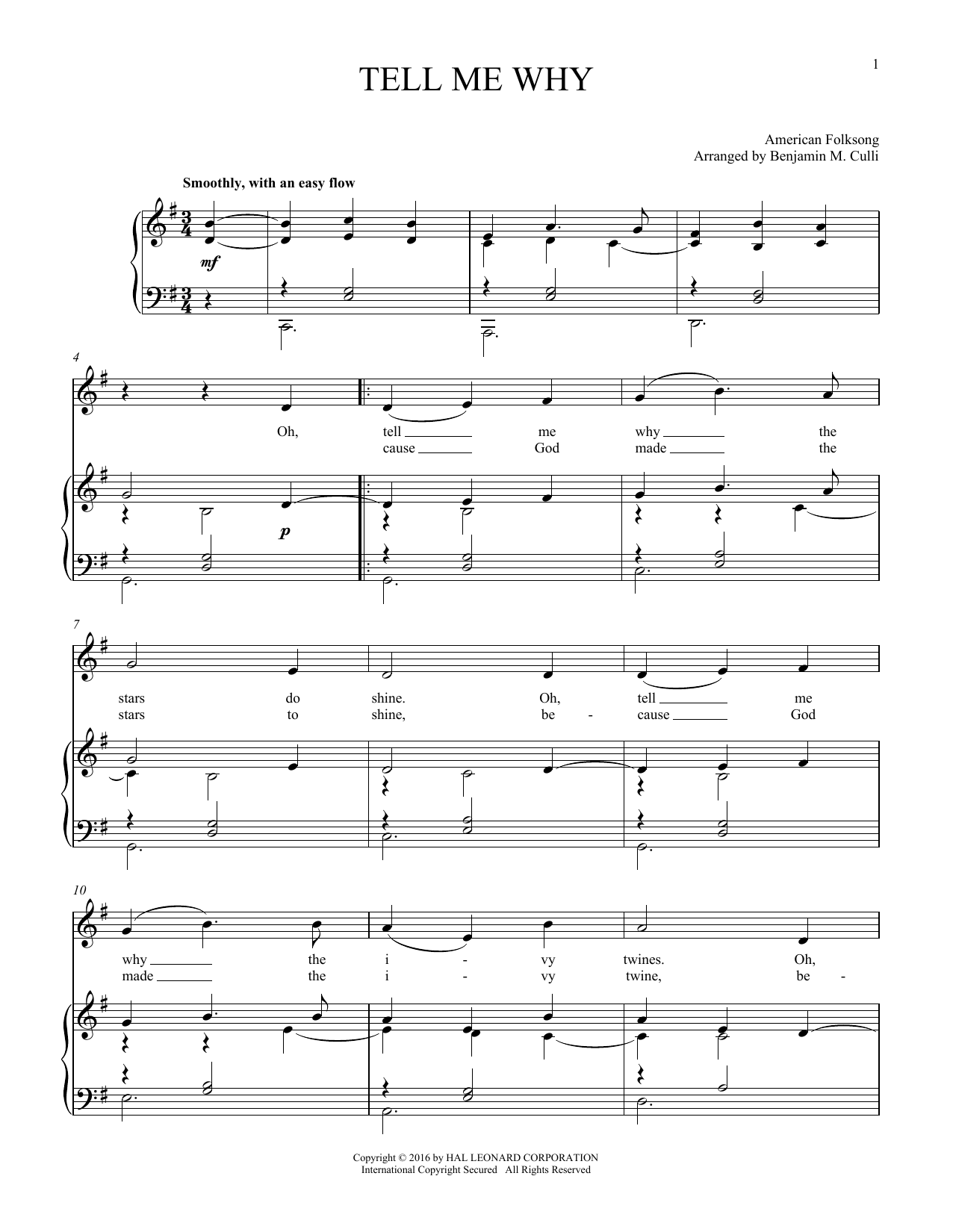 Tell Me Why (Piano & Vocal)