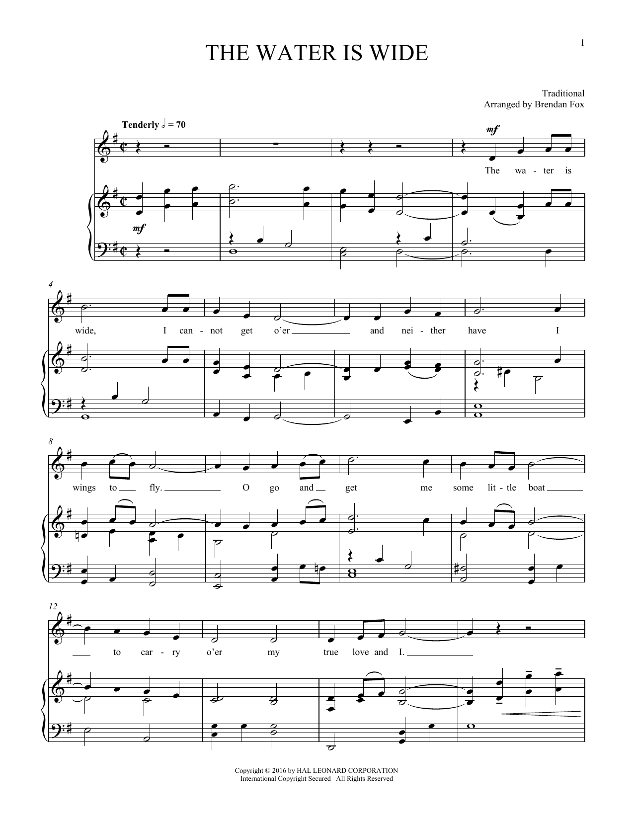 Water Is Wide (Piano & Vocal)