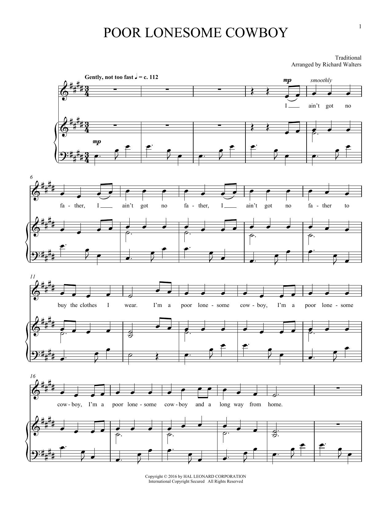 Poor Lonesome Cowboy (Piano & Vocal)