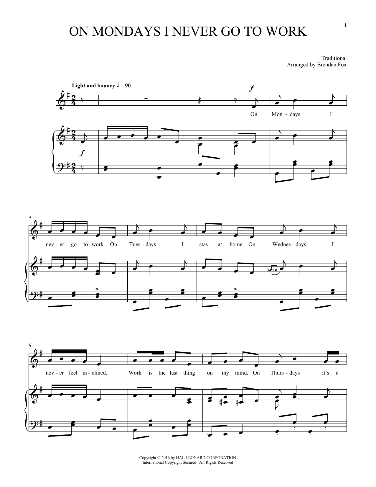 Partition piano On Mondays I Never Go To Work de Traditional - Piano Voix