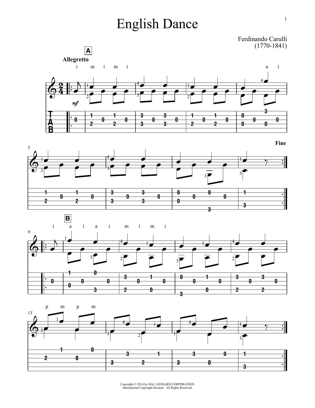 English Dance Sheet Music Ferdinando Carulli Guitar Tab