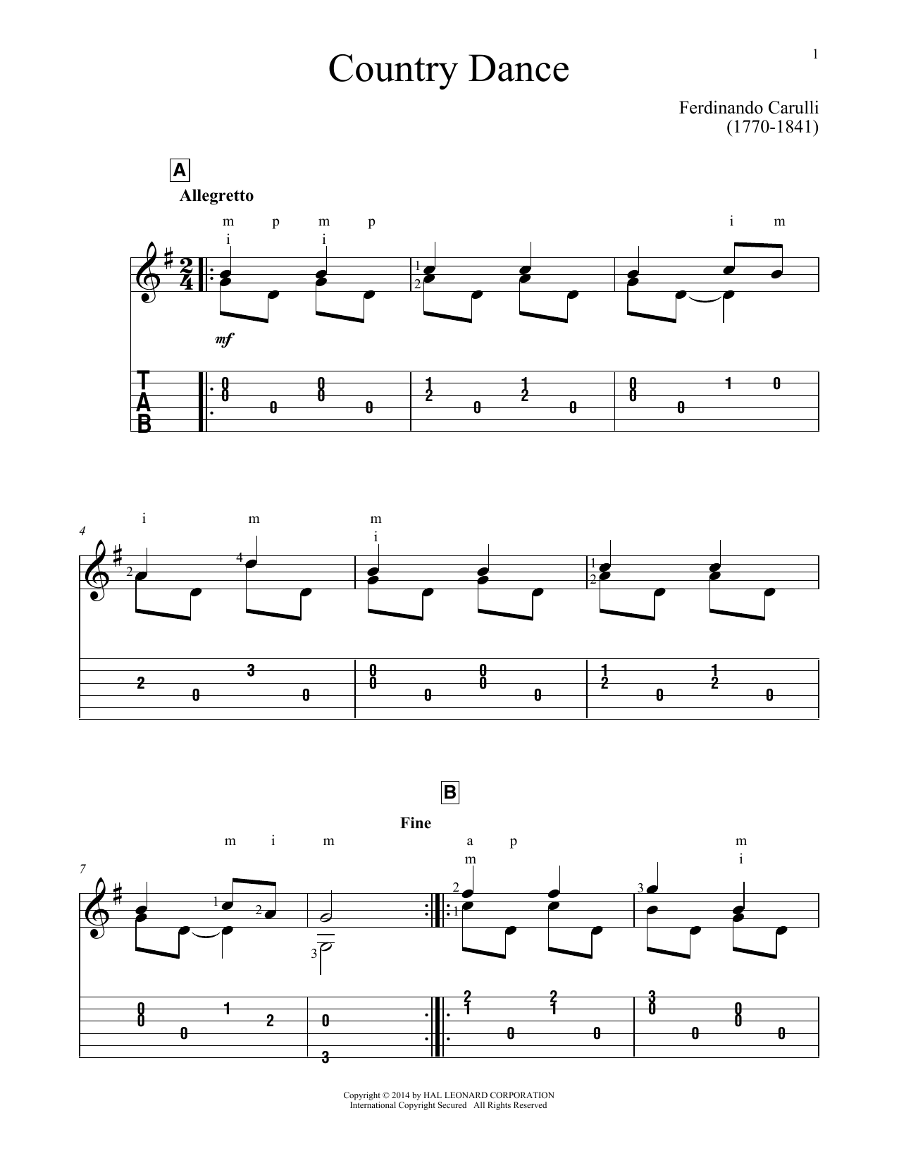 Country Dance (Guitar Tab)