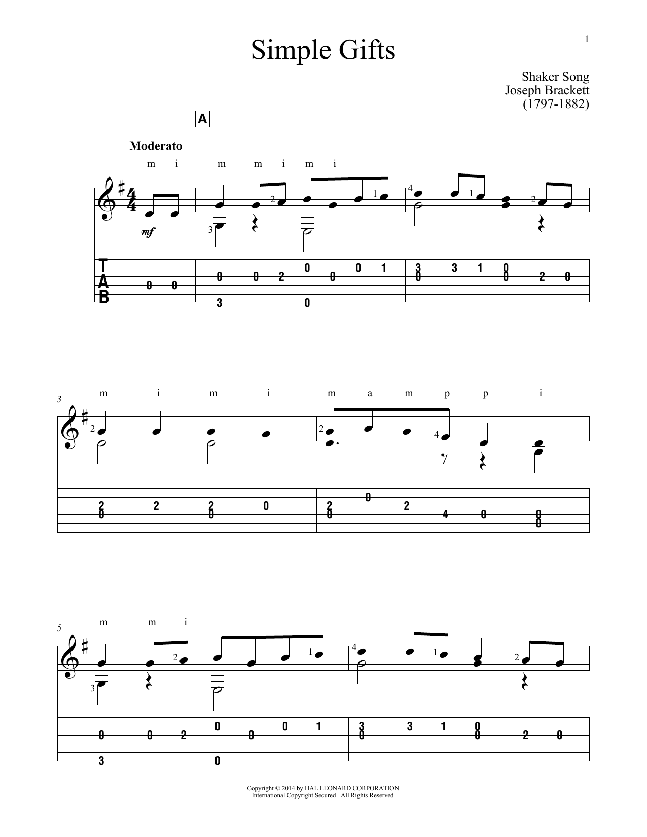 Simple Gifts (Guitar Tab)