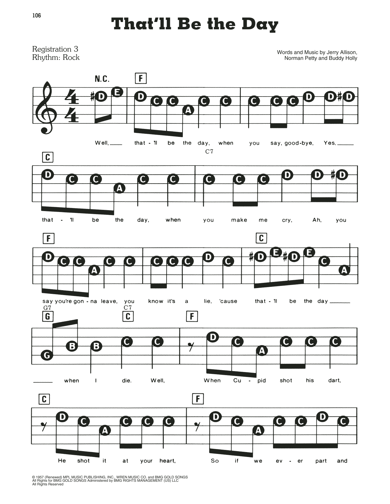 That'll Be The Day Sheet Music