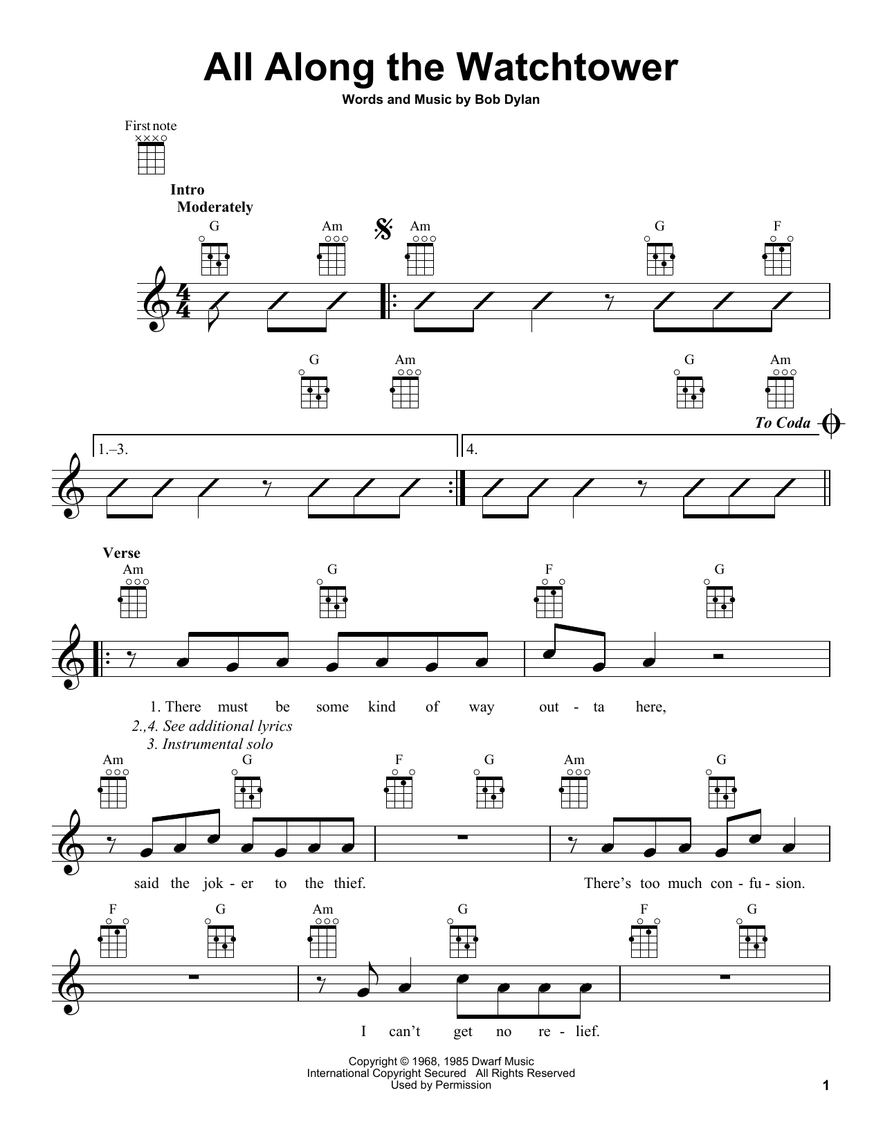 All Along The Watchtower Sheet Music