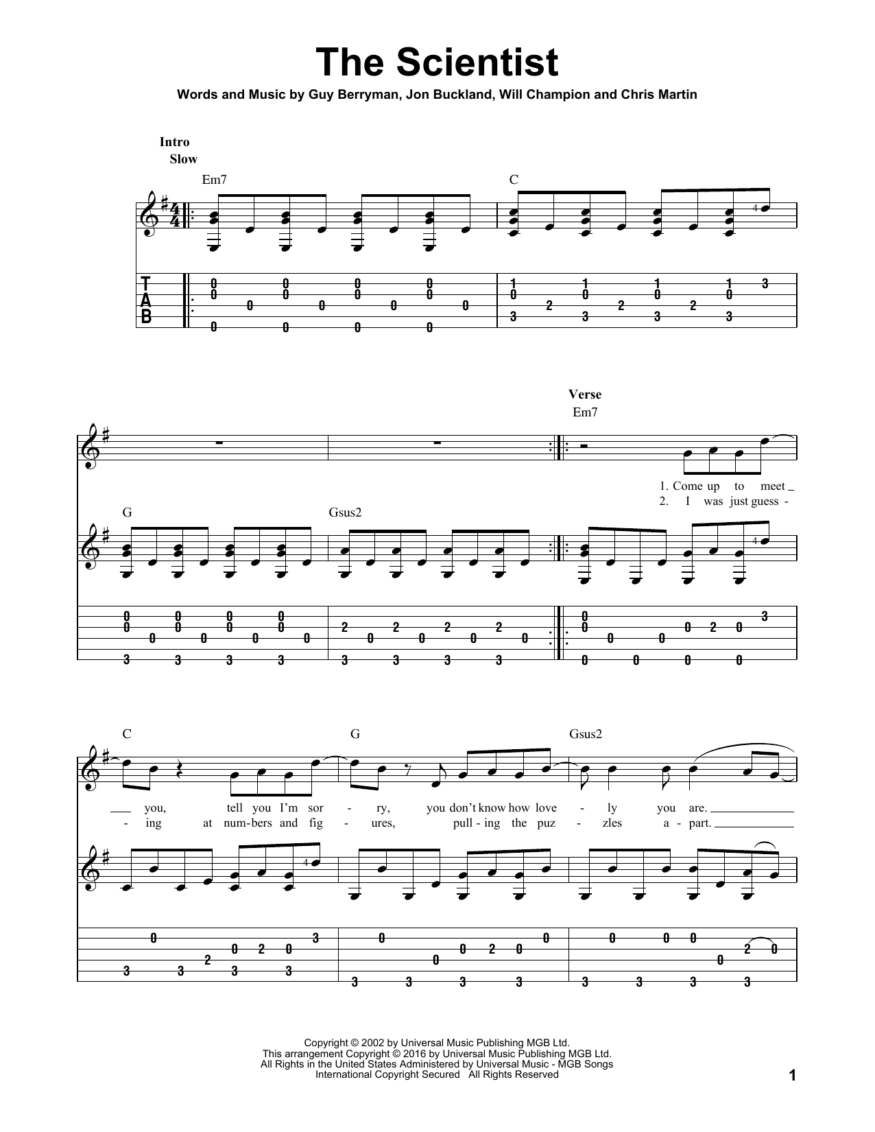 The Scientist Sheet Music Coldplay Guitar Tab