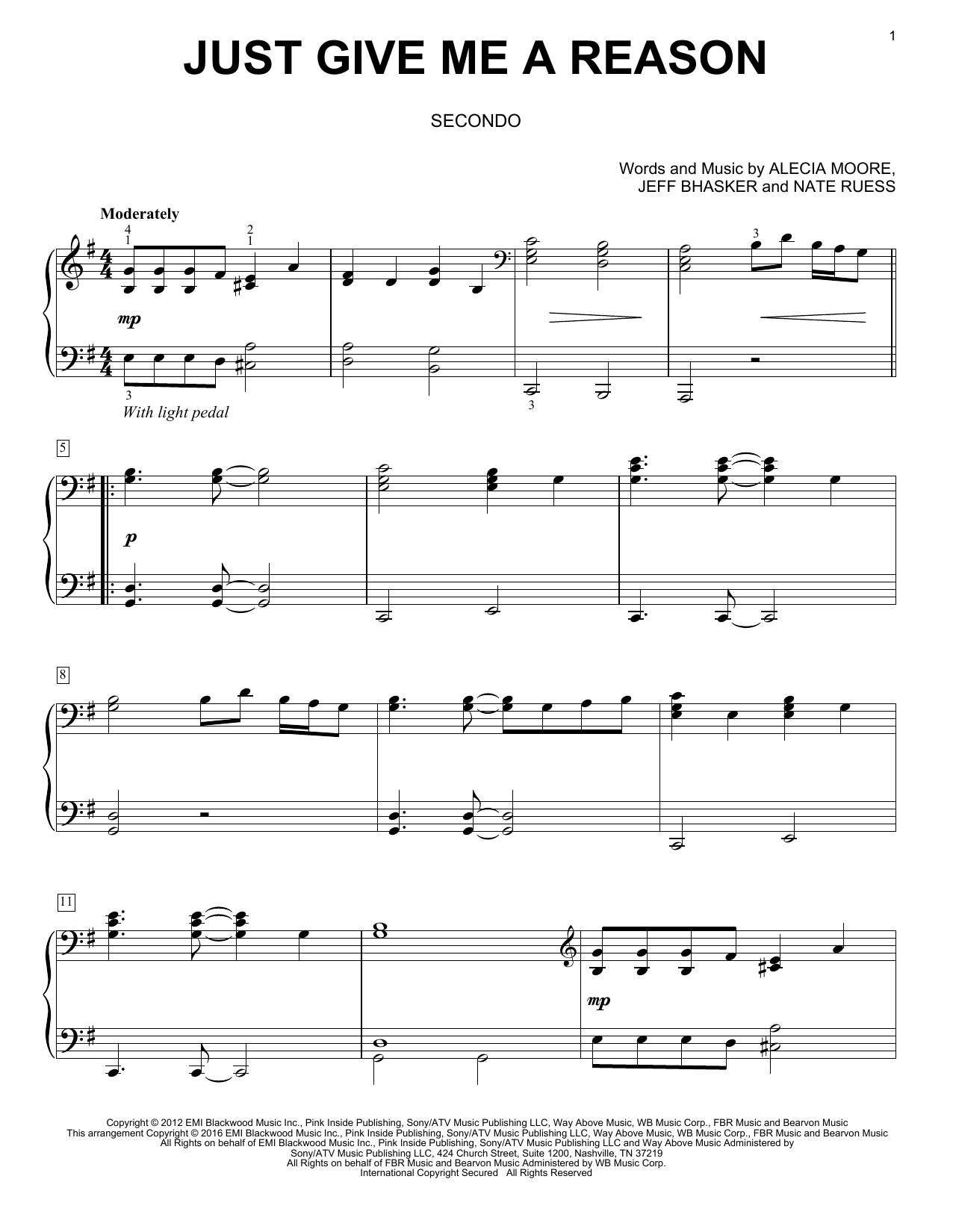 Just Give Me A Reason (feat. Nate Ruess) Sheet Music