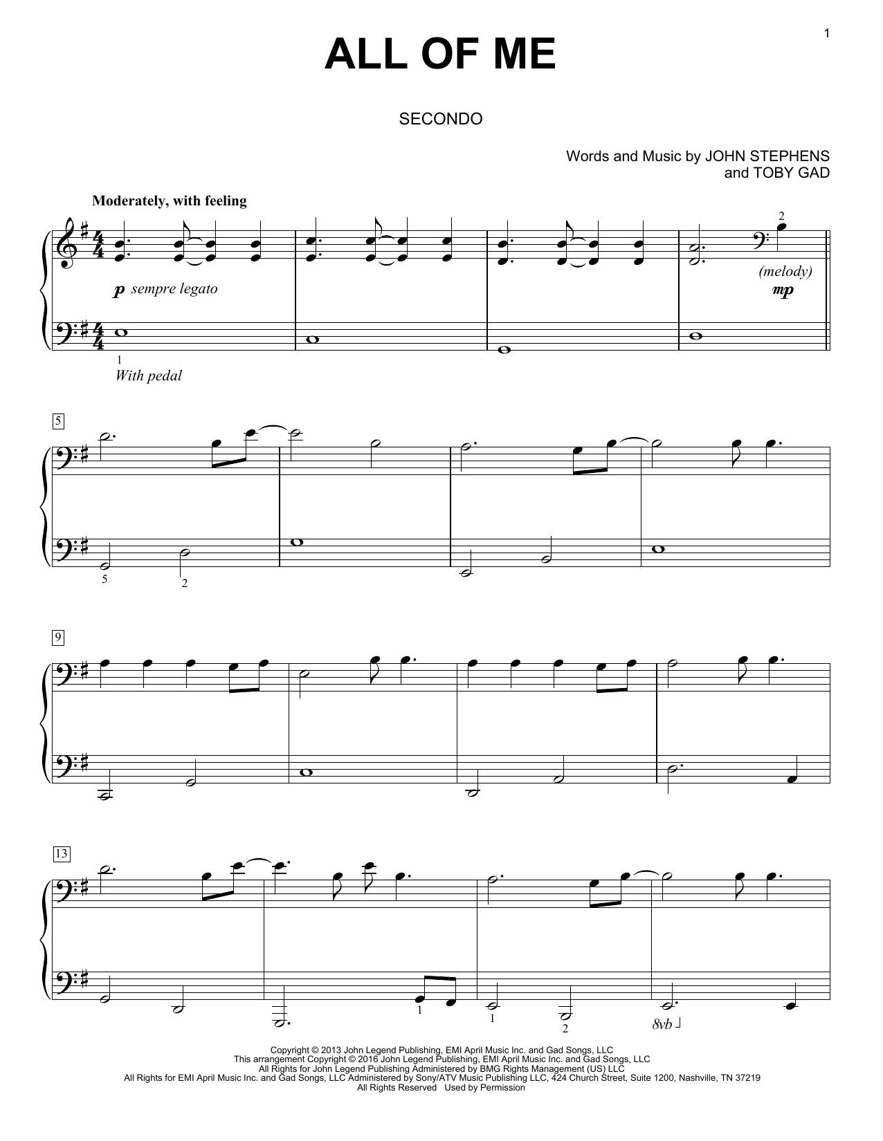 All Of Me sheet music by John Legend (Piano Duet – 170137)