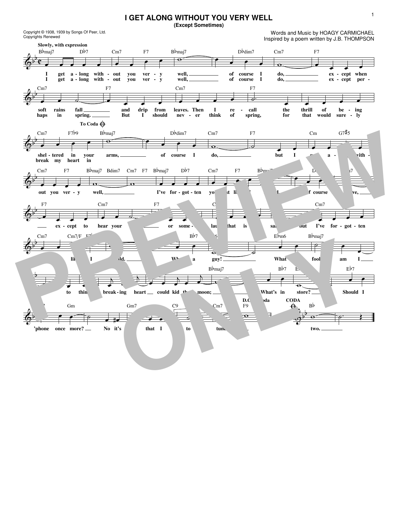 I Get Along Without You Very Well (Except Sometimes) Sheet Music
