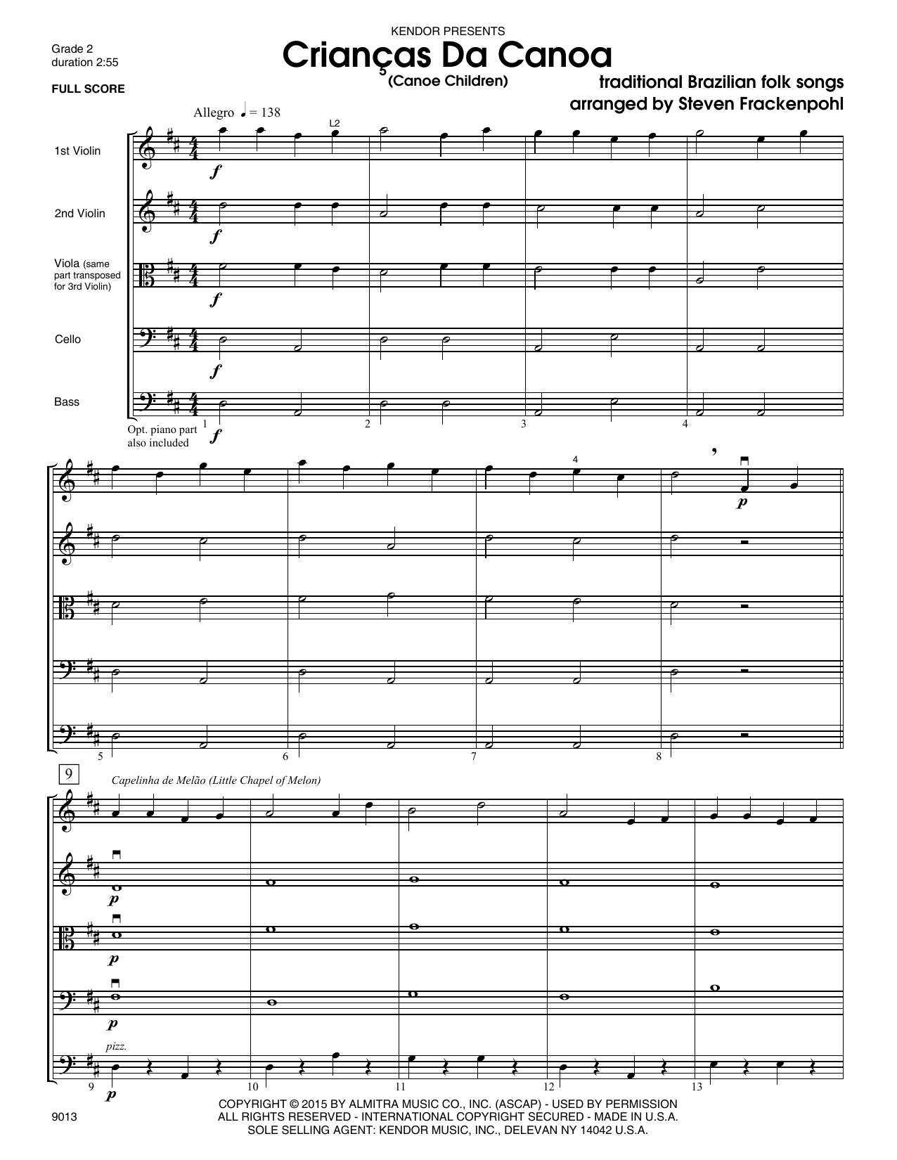 Criancas Da Canoa (Canoe Children) (COMPLETE) sheet music for orchestra by Steve Frackenpohl. Score Image Preview.