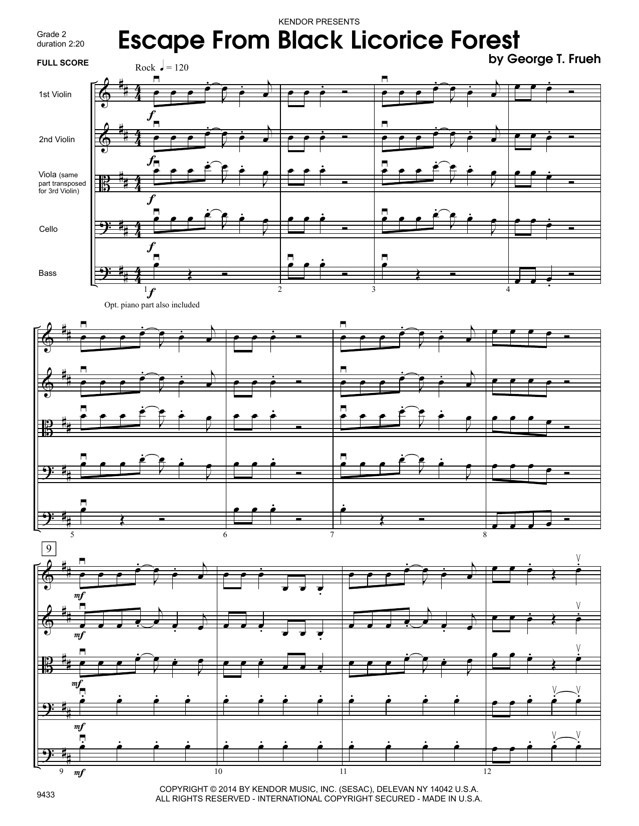 Escape From Black Licorice Forest (COMPLETE) sheet music for orchestra by George T. Frueh. Score Image Preview.