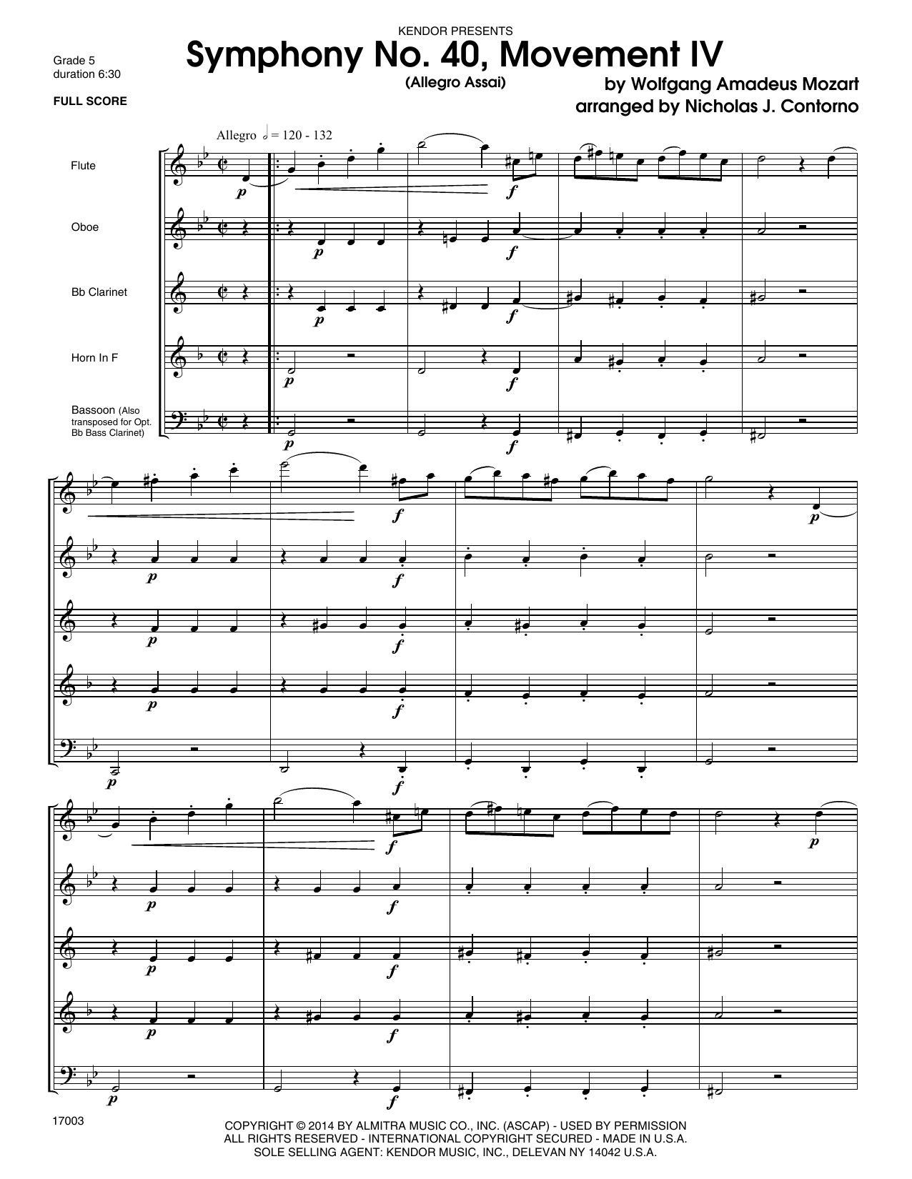 Symphony No. 40, Movement IV (Allegro Assai) (COMPLETE) sheet music for wind quintet by Wolfgang Amadeus Mozart. Score Image Preview.