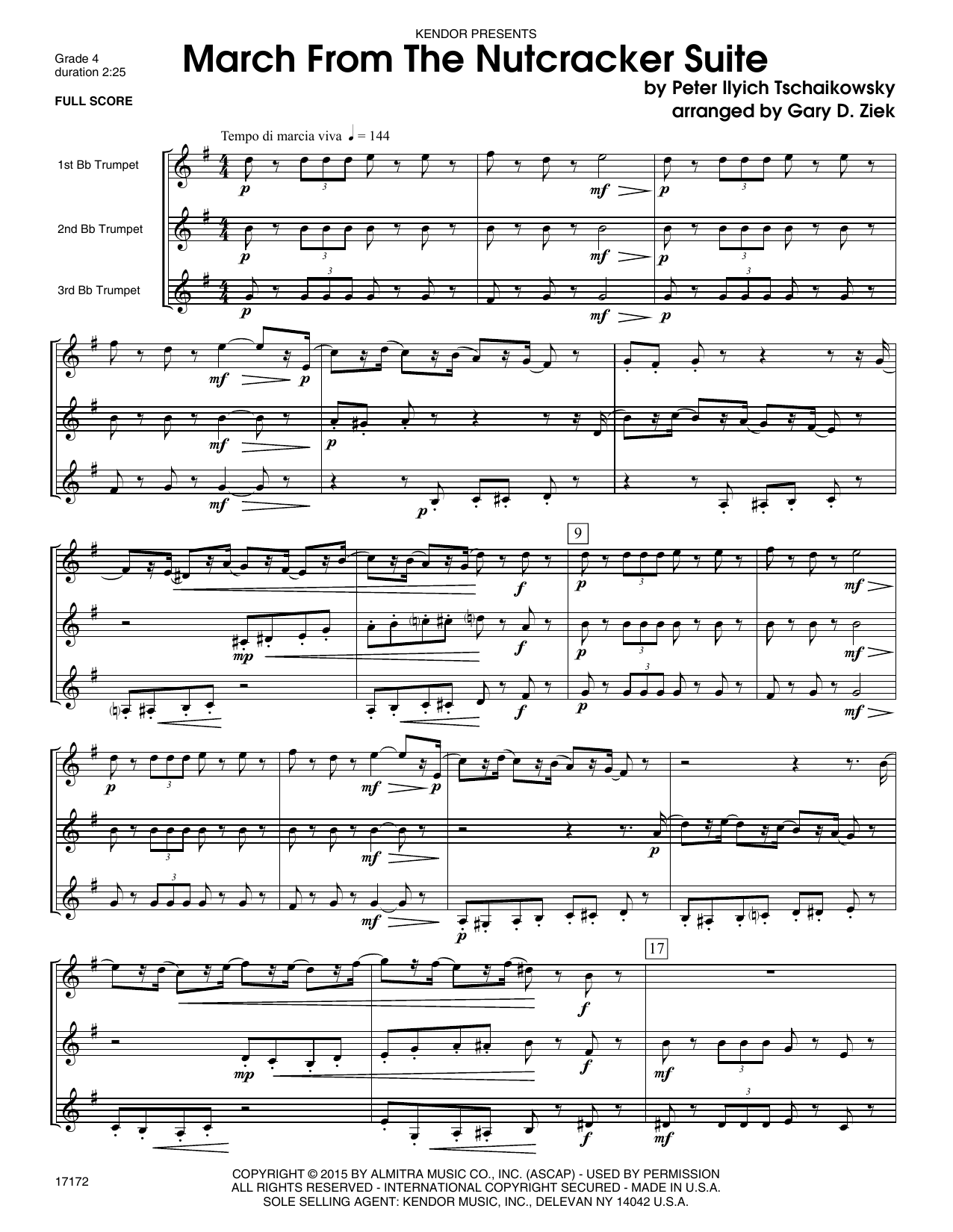 March from the Nutcracker (COMPLETE) sheet music for three trumpets by Gary Ziek and Pyotr Ilyich Tchaikovsky. Score Image Preview.