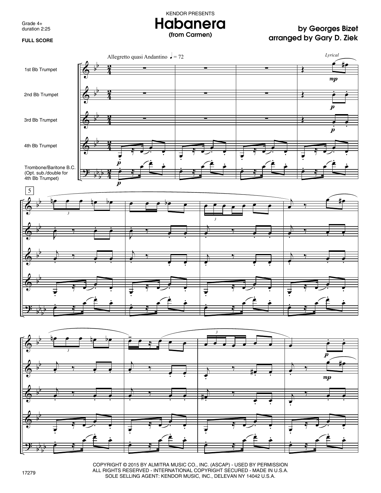 Habanera (from Carmen) (COMPLETE) sheet music for brass quintet by Georges Bizet and Gary Ziek. Score Image Preview.