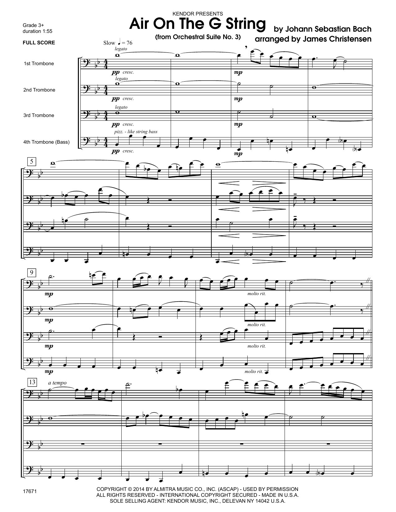 Air On The G String (from Orchestral Suite No. 3) (COMPLETE) sheet music for four trombones by Johann Sebastian Bach and James Christensen. Score Image Preview.