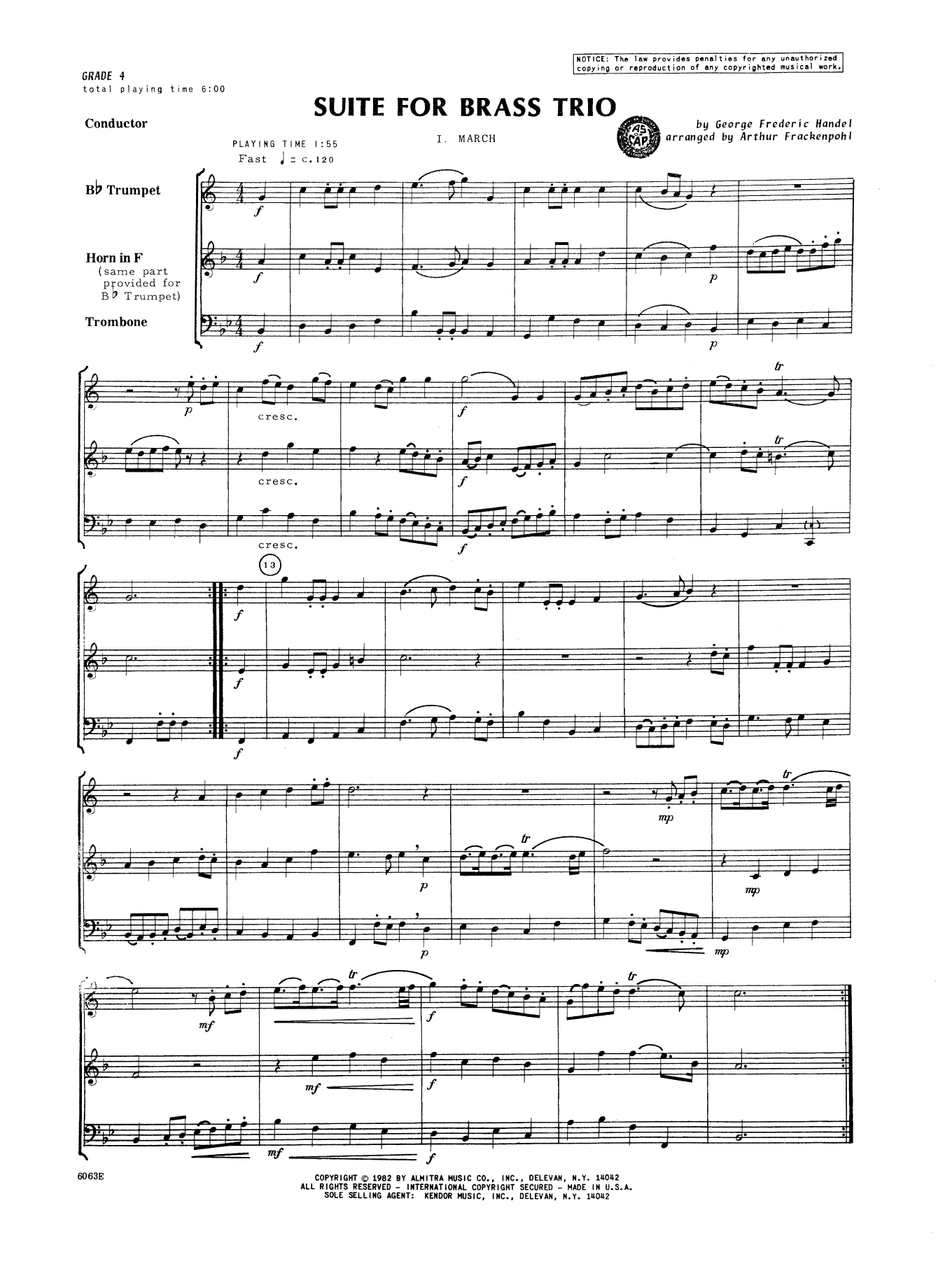 Suite For Brass Trio (COMPLETE) sheet music for brass trio by George Frideric Handel and Arthur Frackenpohl. Score Image Preview.