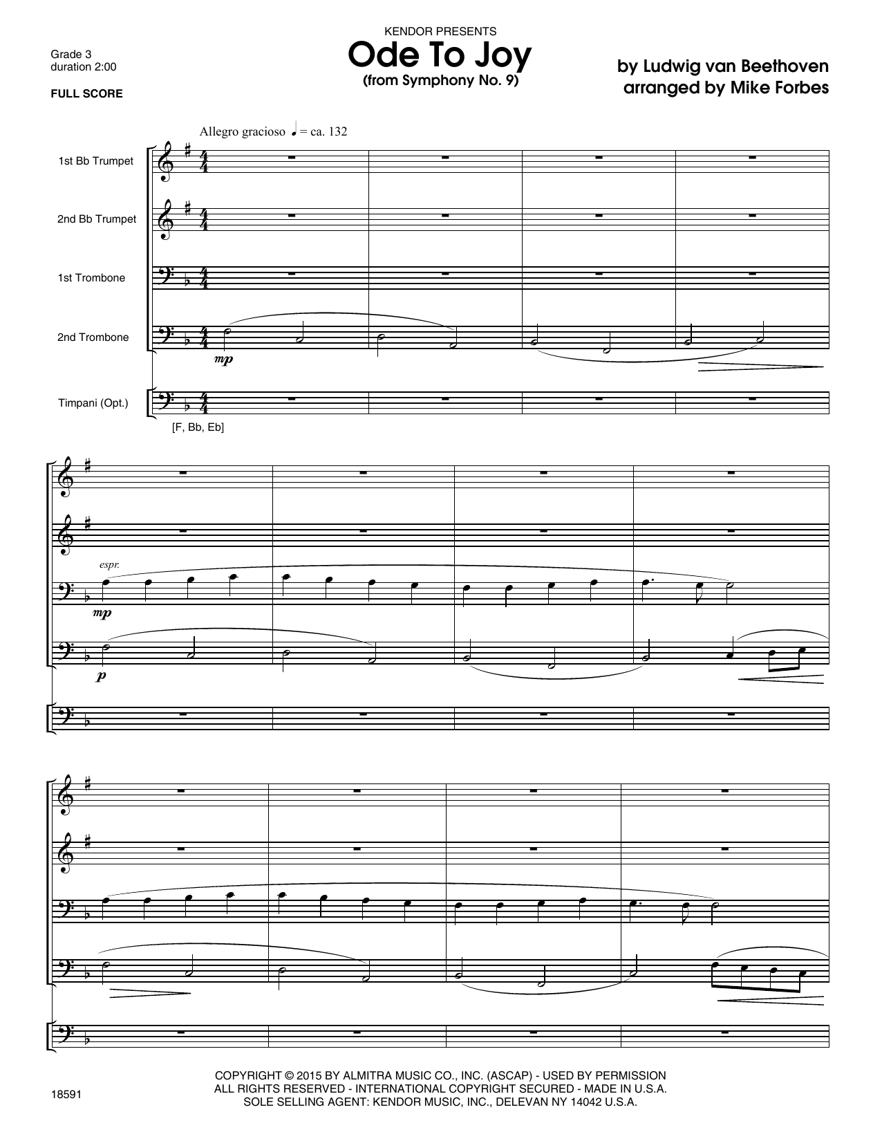 Ode To Joy (from Symphony No. 9) (COMPLETE) sheet music for four trumpets by Ludwig van Beethoven and Mike Forbes. Score Image Preview.