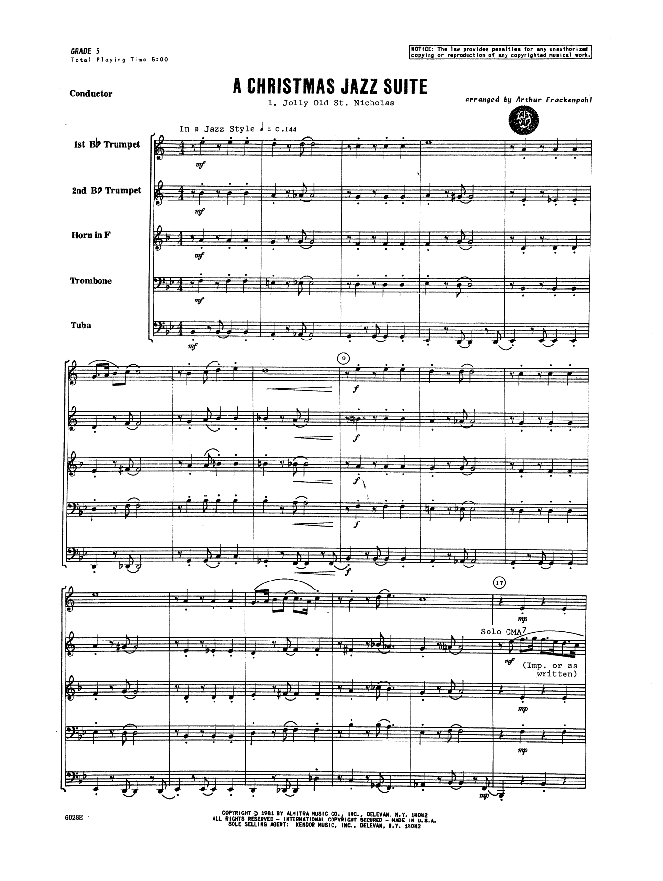 Christmas Jazz Suite (COMPLETE) sheet music for brass quintet by Arthur Frackenpohl and Miscellaneous. Score Image Preview.