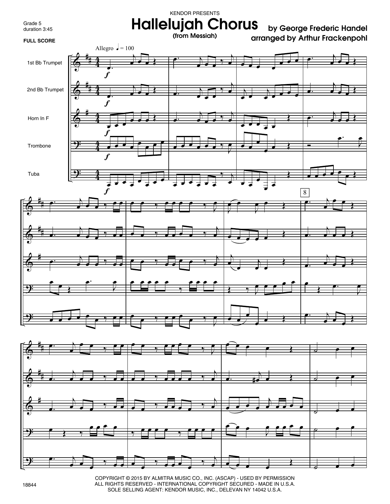 Hallelujah Chorus (from Messia) (COMPLETE) sheet music for brass quintet by George Frideric Handel and Arthur Frackenpohl. Score Image Preview.