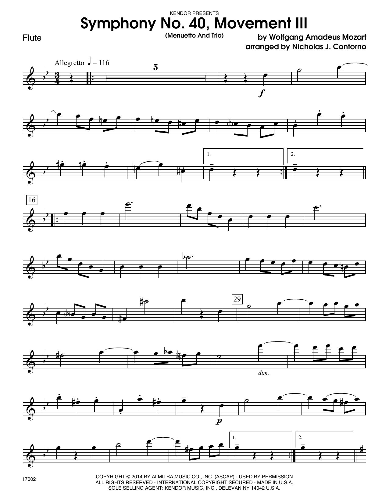 Symphony No. 40, Movement III (Menuetto And Trio) - Flute Sheet Music