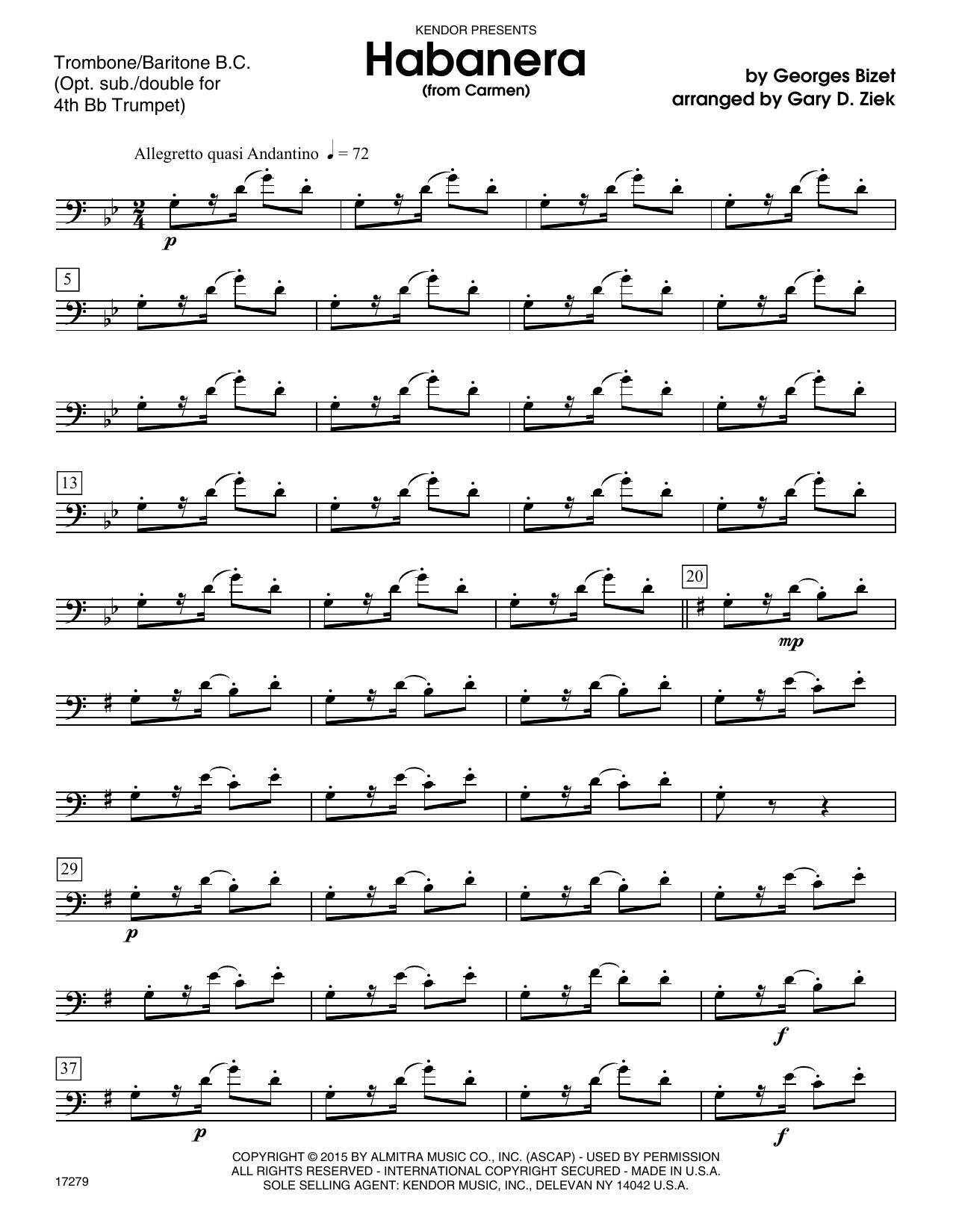 Habanera (from Carmen) - Trombone Sheet Music