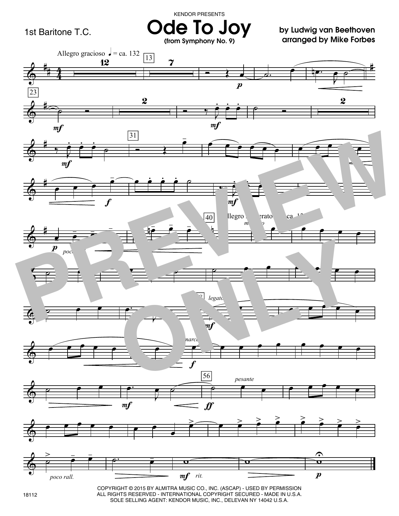 Ode To Joy (from Symphony No. 9) - 1st Baritone T.C. Sheet Music