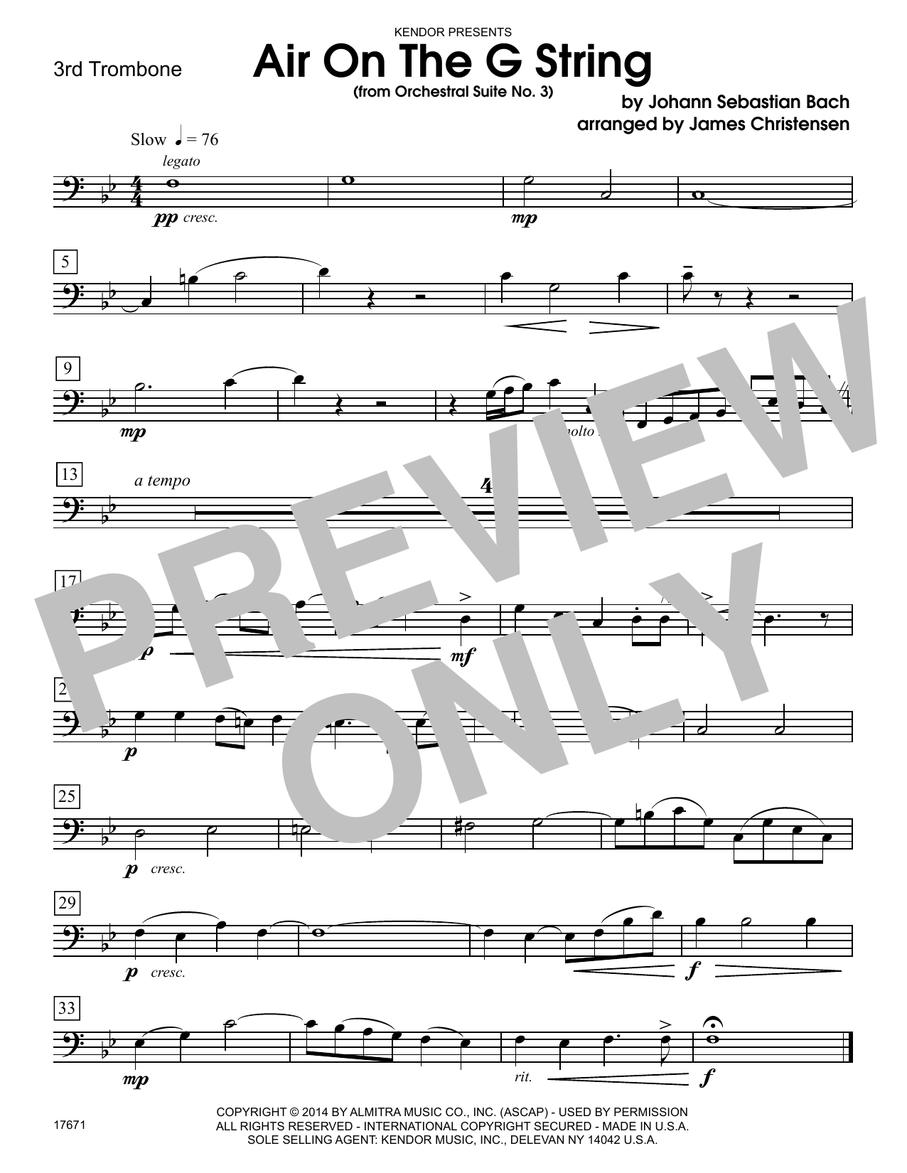 Air On The G String (from Orchestral Suite No. 3) - 3rd Trombone Sheet Music