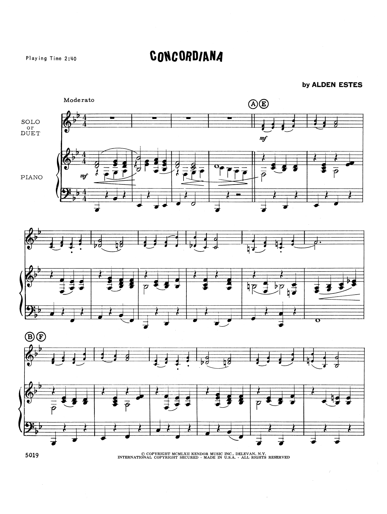 Concordiana - Piano Accompaniment Sheet Music