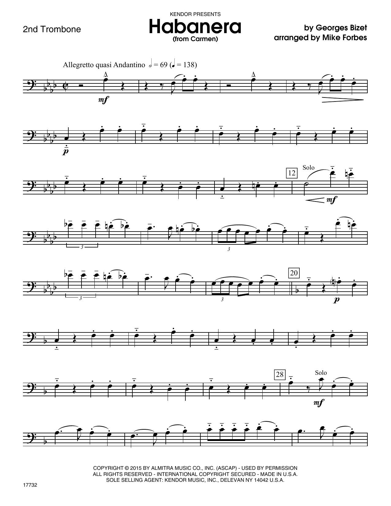 Habanera (from Carmen) - 2nd Trombone Sheet Music