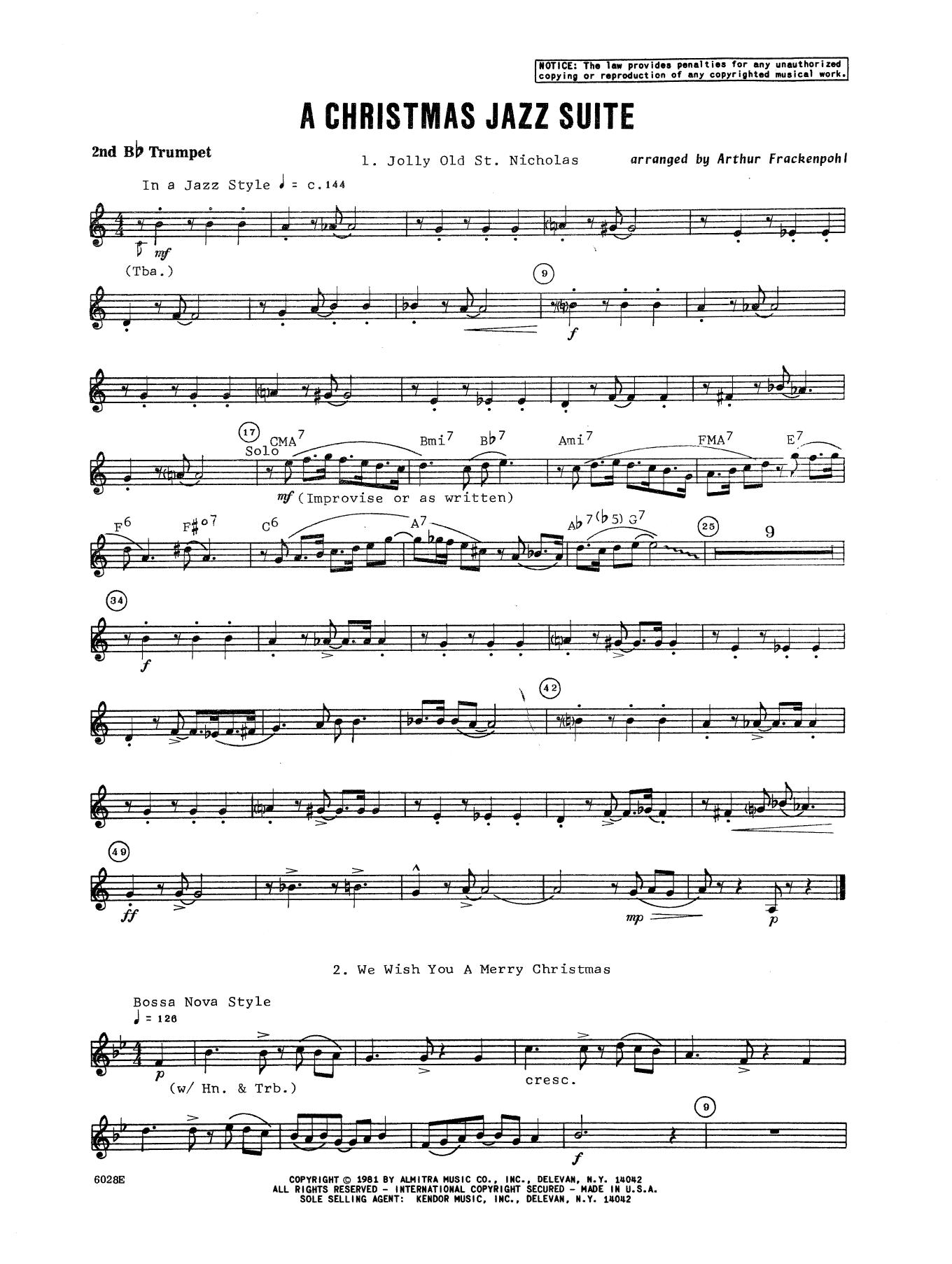 Christmas Jazz Suite - 2nd Bb Trumpet Sheet Music   Arthur ...